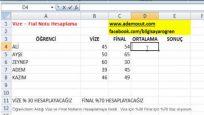 Excel vize ve final notu hesaplama