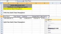 Microsoft Excel Yıllık / Aylık / Günlük Faiz Getirisi Hesaplama