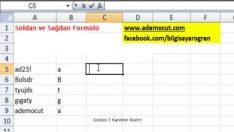 Excel Sağdan ve Soldan Formülü Nasıl Kullanılır