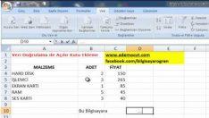 Excel Veri Doğrulama ile Hücreye Açılır Pencere Ekleme