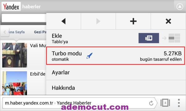 Yandex turbo Modu açma / kapama