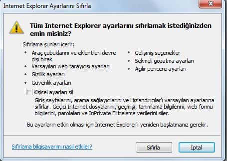 EXPLORER FABRİKA AYARINA GERİ DÖNMESİ