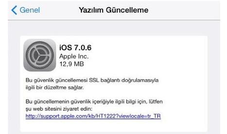 İOS 7.0.6 Güncellemesi Yayınlandı Neler İçeriyor.