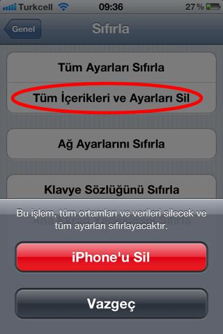 iphone - ipad tüm içerikleri silme