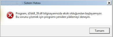 [Çözüldü] d3dx9_39.dll Hatası Nasıl Düzeltilir