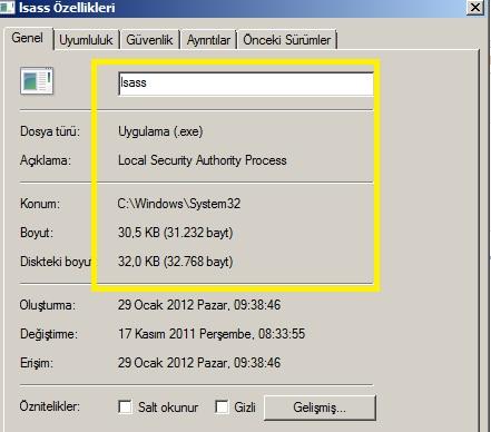 lsass dosyası