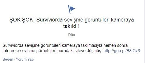 Facebook Etiketine Dikkat : ŞOK ŞOK! Surviviorda sevişme görüntüleri kameraya takıldı!