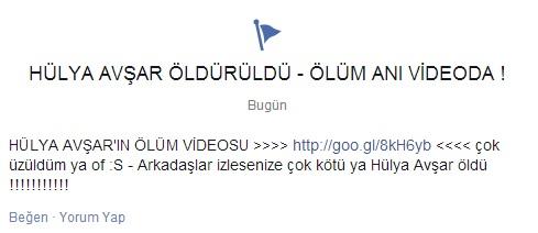 """Facebook'da """" Hülya Avşar Öldürüldü – Ölüm Anı Videoda ! """"  Bu Etiketlemeye Dikkat"""