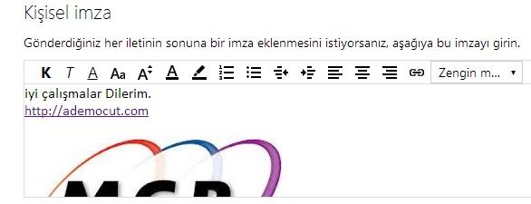Outlook Hotmail Mesaj Sonuna İmza Ekleme2