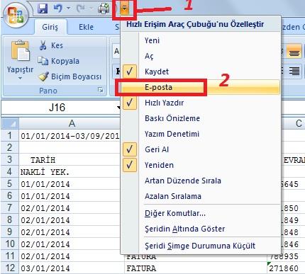 Excel Mail Özelliği