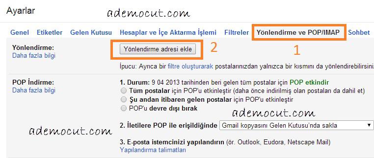 gmail hesabını başka bir mail adresine yönlendirme