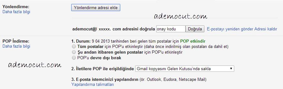gmail yönlendirme kodu