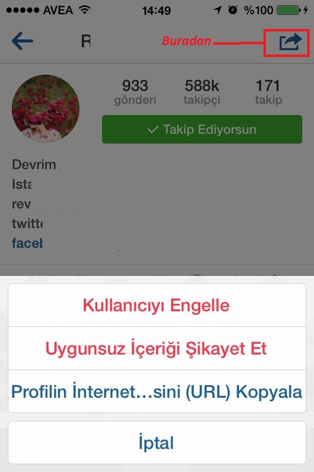 instagram engelleme