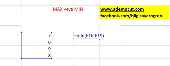 excel max  - min formulu