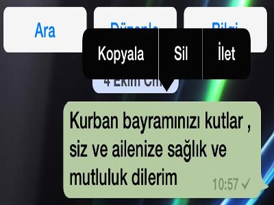 whatsapp mesaj içindeki iletiyi silme