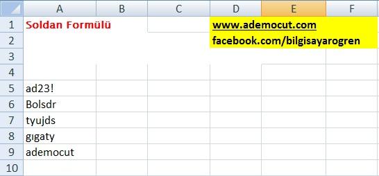Excel Soldan Formülü