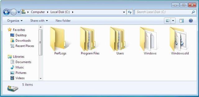 windows old dosyası