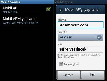 android telefon internet paylaşımı