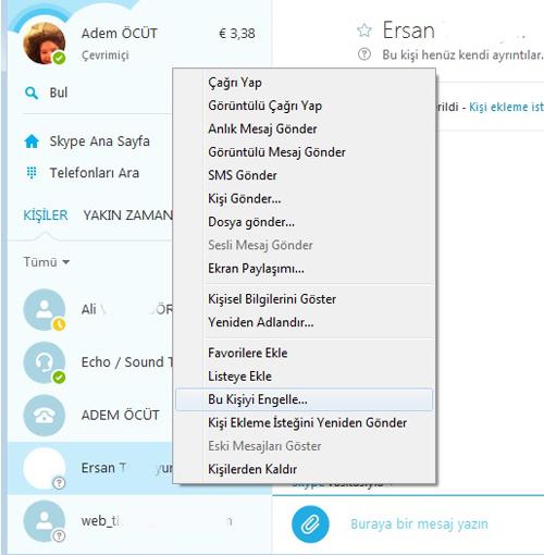 skype kişi engelleme nasıl yapılır