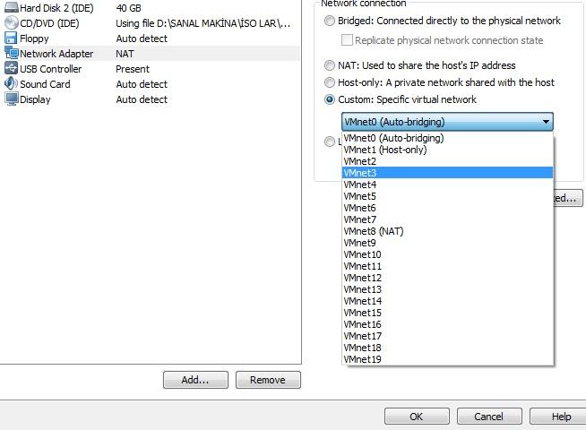 Vmware network adapter ayarı