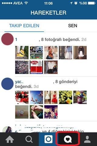 instagram beğeni akışı - bildirim
