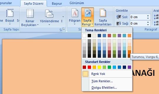 microsoft word sayfa arka plan renk değiştirme