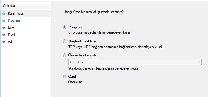 windows güvenlik duvarı yeni kural oluşturma