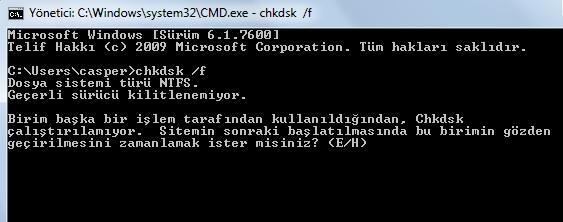 chkdsk kullanımı
