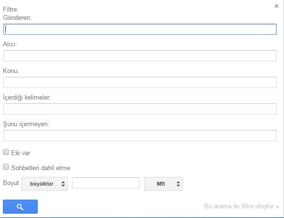 gmail yeni filtre oluşturma
