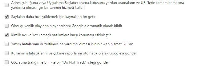 google chrome sayfa perofrmans ayarı
