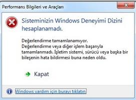 sisteminizin windows deneyimi dizini hesaplanamadı hatası