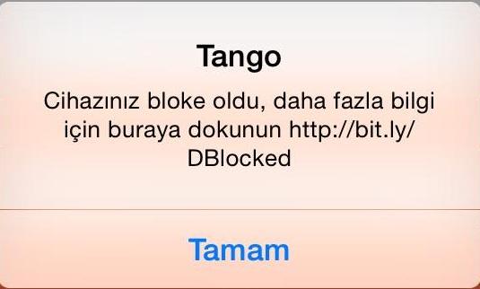 tango - cihazınız bloke oldu