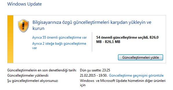windows update nereden yüklenir