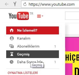 youtube geçmiş ayarı