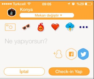 facebook ve twitter check-in ekleme