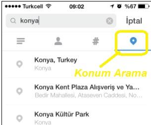 instagram konum arama