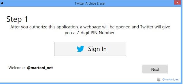 twitter archive eraser programı