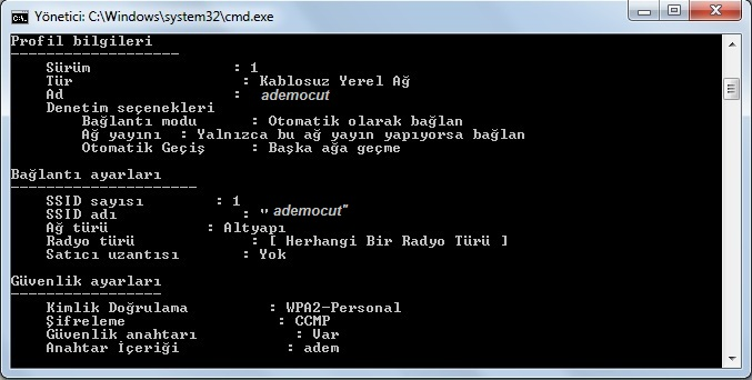 wifi şifre dos komutu ile bulma3