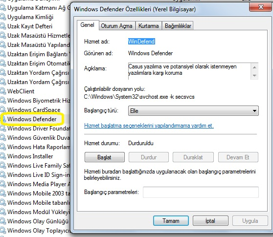 windows defender hizmetler