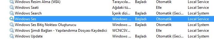 windows ses - hizmetleri başlat