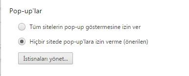 google pop-up ayarları