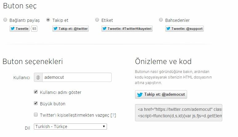 twitter takip et butonu nasıl alınır ve kod nasıl yerleşir
