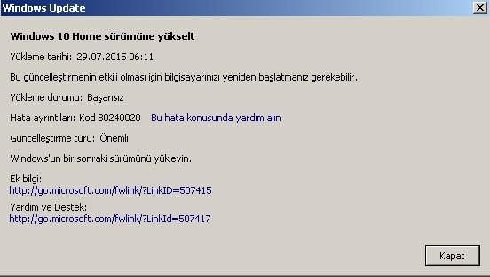 windows 10 kod 80240020 sorunu