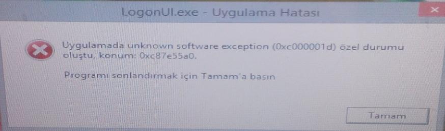 LogonUI.exe 0xc000001d