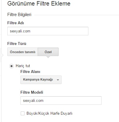 google analytics filtreleme