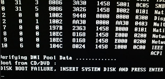 insert system disk and press enter