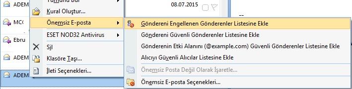 microsoft mail engelleme
