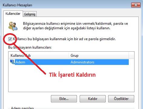 windows 10 parola giriş şifresini kaldırma