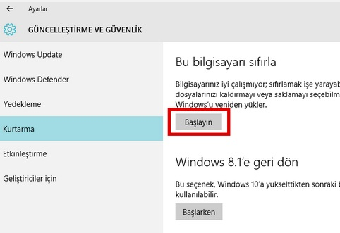 windows 10 sıfırlama