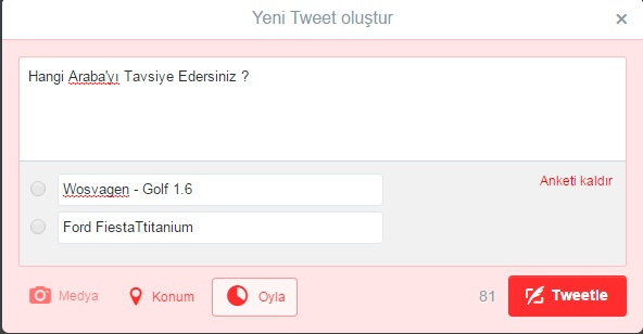 tweet anket soru sor